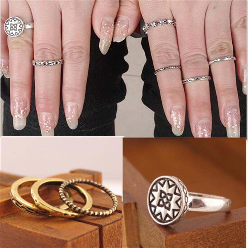 7pcs Gypsy Vintage Ring Sets Fashion Designer Antique Alloy Set Auger Crystal Midi finger Rings Sunflower Ring for Women Gift(China (Mainland))