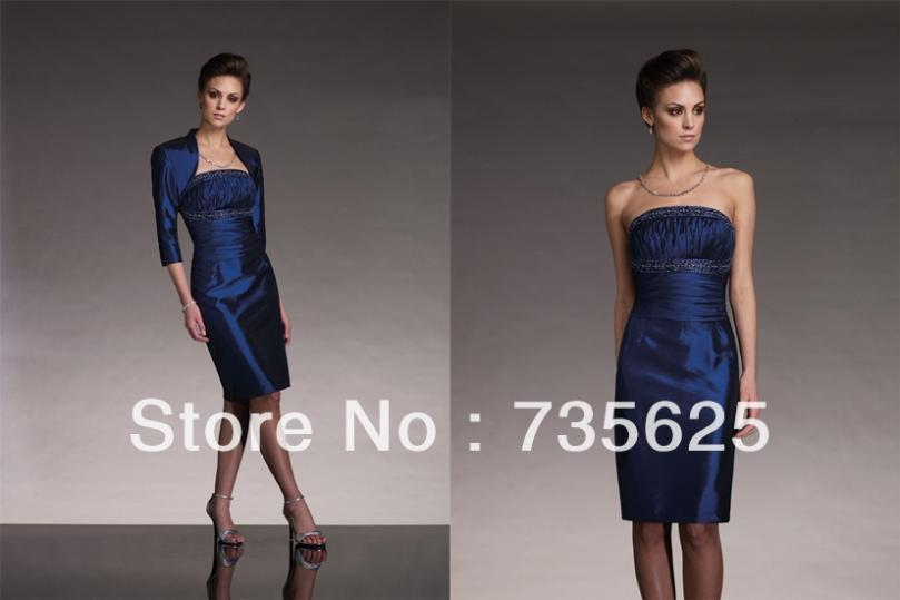 Bule satin beading mother of briede dresses with jacket knee length