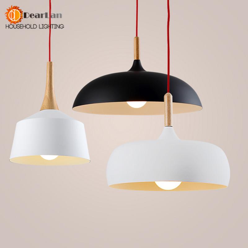 modern pendant light wood and aluminum lamp black white restaurant. Black Bedroom Furniture Sets. Home Design Ideas