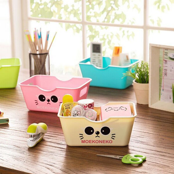 2015 Candy Color Kitten Cat Desktop Storage Box High-grade Plastic Storage Baskets Cosmetic Organize Desktop Sundries Boxes(China (Mainland))
