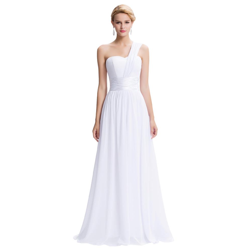 robe de soiree white evening dresses long prom gown one shoulder chiffon formal evening dress. Black Bedroom Furniture Sets. Home Design Ideas