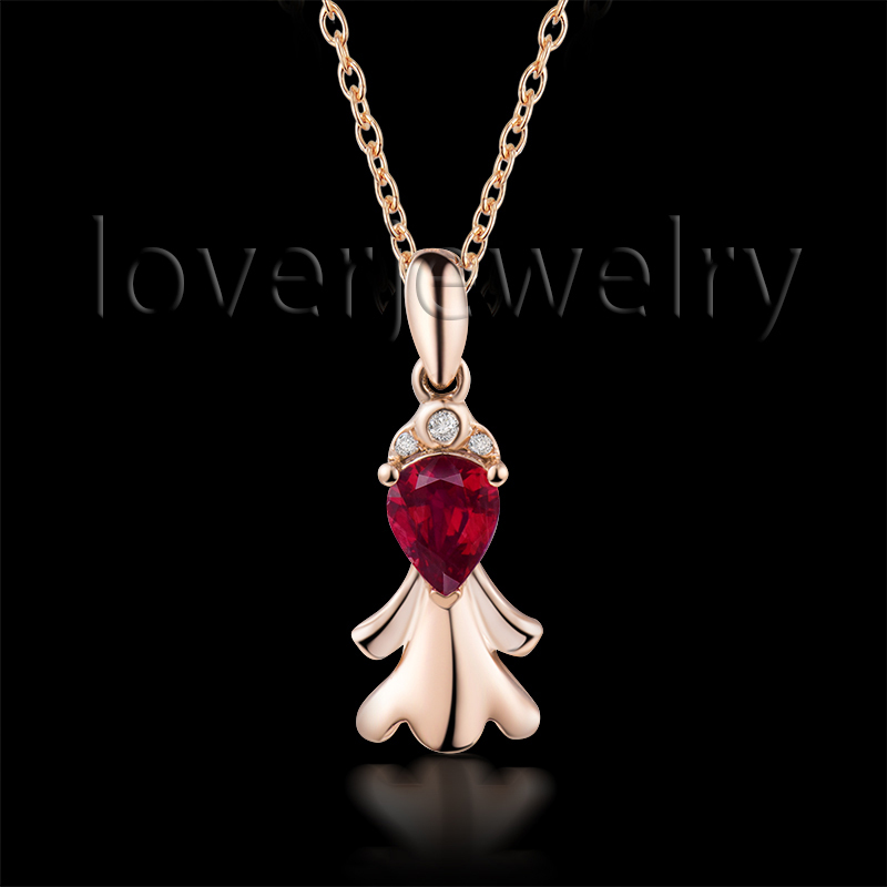 Pear Shape Virgo Ruby Pendant Solid 18K Rose Gold,Natural Diamond Ruby Virgo Pendant 750 Rose Gold WP086E<br><br>Aliexpress