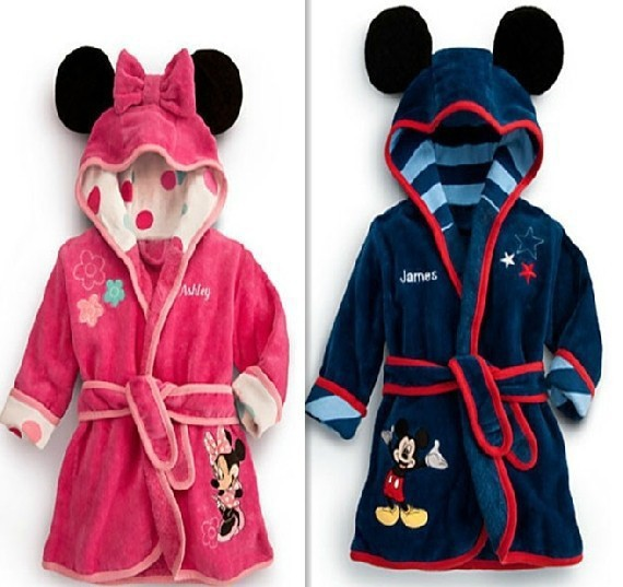 children's bathrobe Retail! Baby pc 1 boy / girl minnie and mickey soft velvet robe pajamas coral children dress baby clothes(China (Mainland))