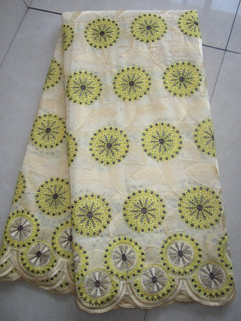 Top Quality Free shipping african lace fabric,swiss voile lace high quality emboridery cotton fabric material 5yards/pc