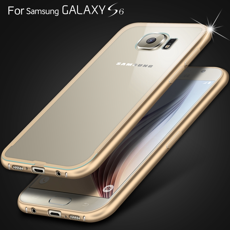 S6 /S6 Edge HOT! Aluminum Frame Clear Case For Samsung Galaxy S6 G920 /S6 Edge G9250 Clear Hard Slim Metal Rim Back Phone Cover(China (Mainland))