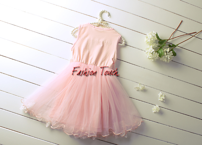 Fashion 2016 Girl Dresses Summer Cotton Vest Pink Dress Lace Baby Costume Infant Sleeveless GD50325-10^^FT - Touch store