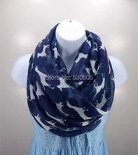 Navy blue Dog Printed Light Women font b Scarf b font shawl font b wrap b