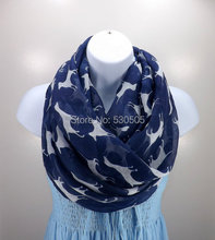 Navy blue Dog Printed Light Women Scarf, shawl, wrap, Beach Cover-Up, fashion dog print scarf 2014