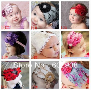 baby feather headband girls' hairbands fashion Christmas gift hair tie Head bands Children's Hair Accessories 18 colors 10pcs