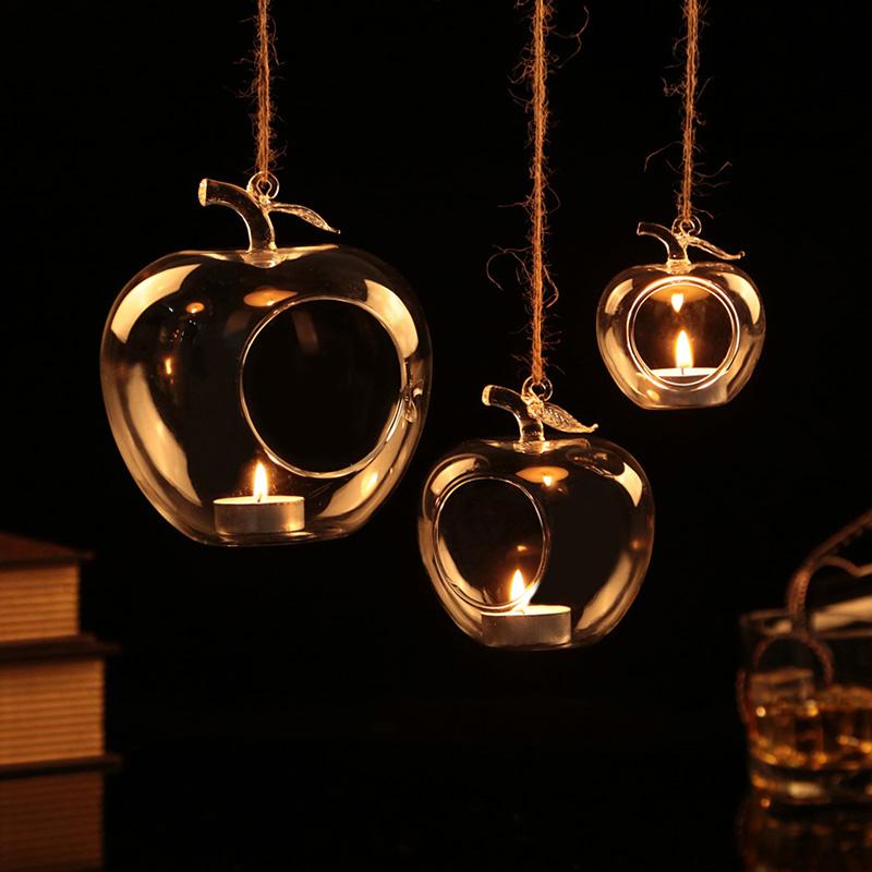 1 pcs hand blown glass hanging votive candle holder tea for Hanging votive candles