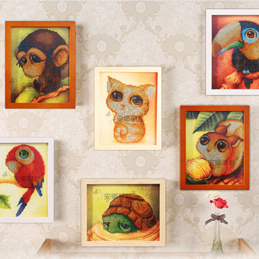 All kinds little animal small diamond diy painting by numbers on table or kids room wall art decor(China (Mainland))