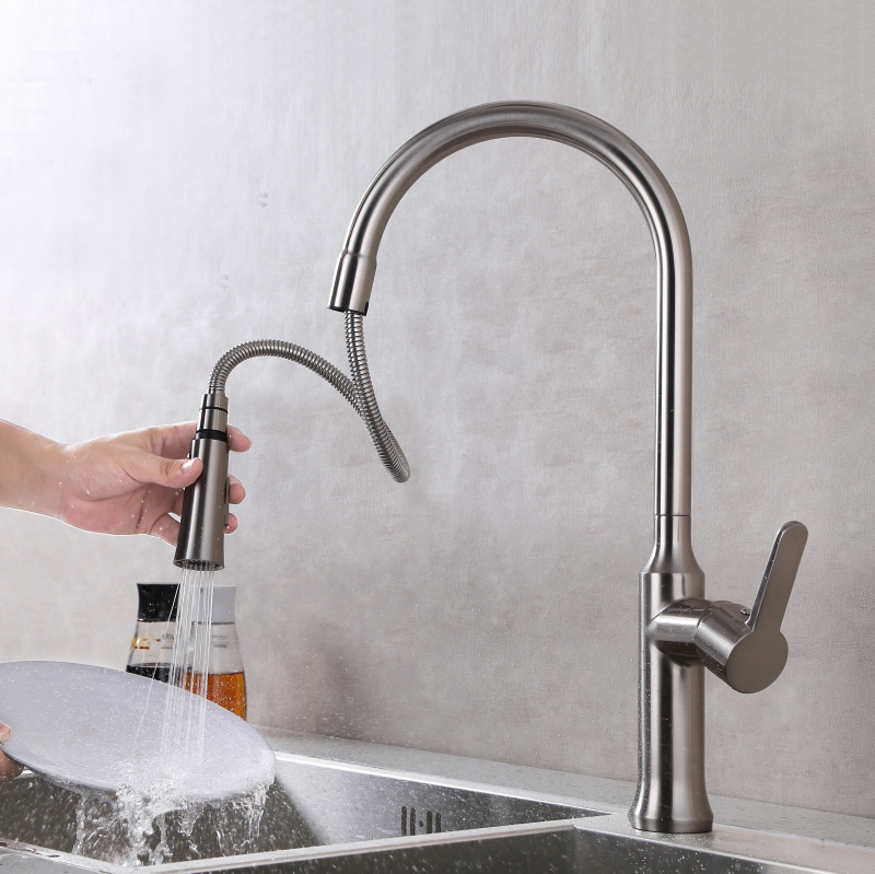 Free shipping Pull out Spray Kitchen Faucet Mixer Tap stain Brushed Nickel basin sink mixer tap swivel rotate KF158(China (Mainland))