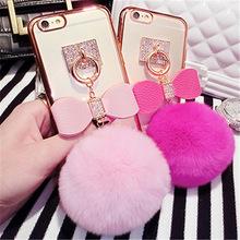 Fashion Luxury Rabbit Hair fur pompom Fluffy ball Tassel Phone Cases Cover For Apple iPhone6 6s 6+ plus plating Fundas Capa Case