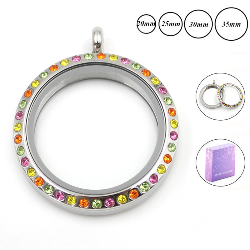 20mm 25mm 30mm Silver Screw Top 316L Stainless Steel Floating Locket 3 color crystals - Pan P Store store