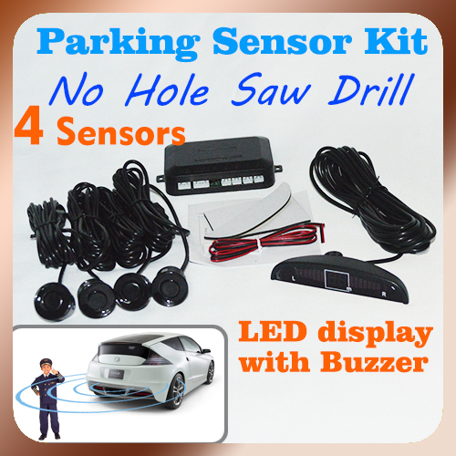 Free Shipping Car Parking System (No Hole Saw Drill) with 4 Sensors 22mm + LED Display + Buzzer Alarm, Auto Parking Sensor Kit(China (Mainland))