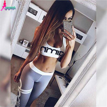 Gagaopt 2017 Two Piece Set women Tracksuit Sexy Sleeveless strapless letter Women Sets Cropped Survetement femme(China (Mainland))