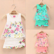 Baby Girs Kids Summer Outfits Suits Tops Shorts Bow Tulle Suit Sz 2-5Y