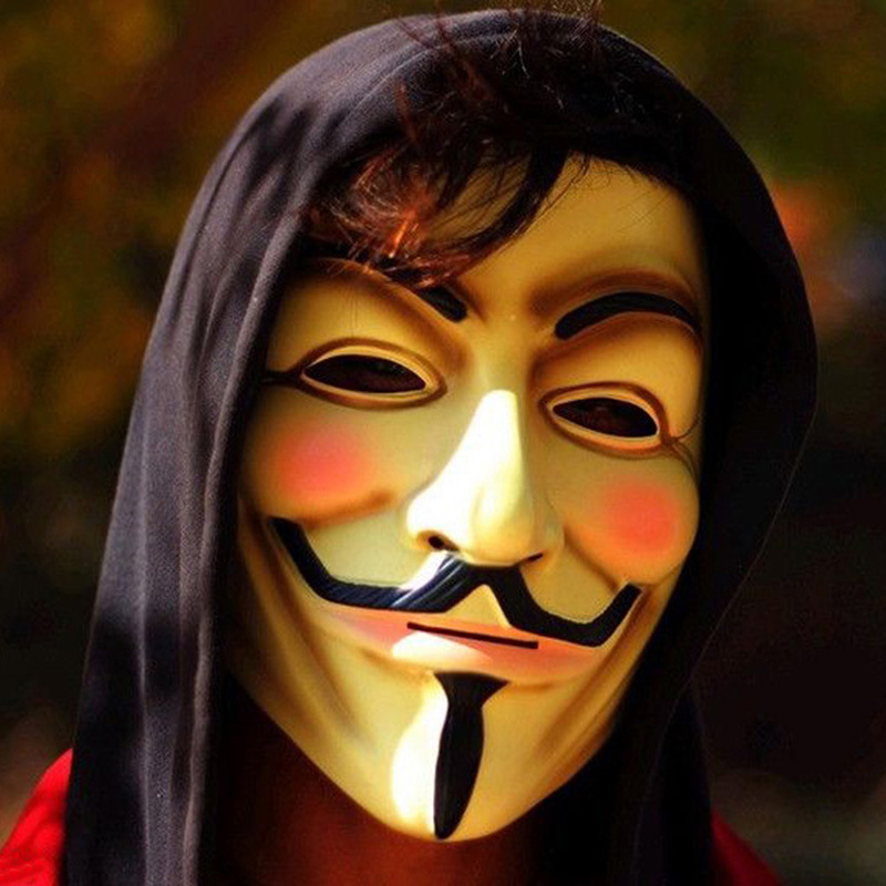 V for Vendetta Mask Guy Fawkes Anonymous Halloween Masks Fancy Dress Costume (White/Yellow) 2 Colors 1pcs/lot(China (Mainland))