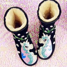Mujeres de invierno botas 2015 cuero auténtico personalizada hechos a mano de los Rhinestones de Bling del diamante de botas de nieve caliente zapatos de cuña(China (Mainland))