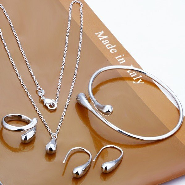 Women's Fashion Jewelry Set Wedding Big Promotion Silver Plated Water Drop Bangles & Bracelets Necklace Rings Earrings for Women(China (Mainland))