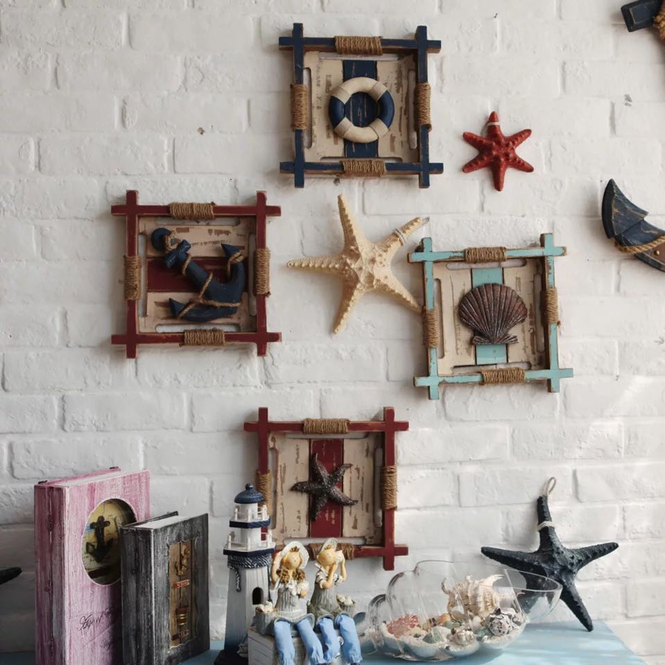 3d mediterranean wood anchor wall hangings home nautical for Ship decor home