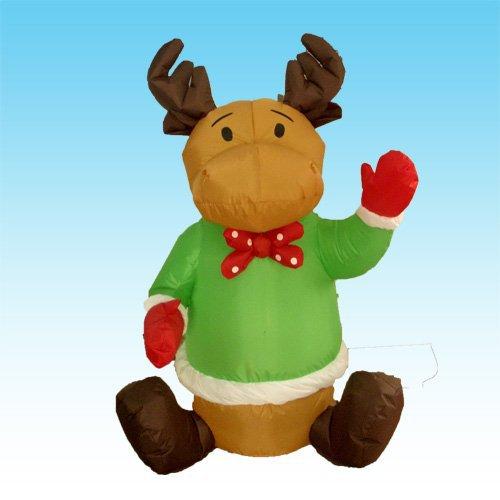 2015 Factory price 1.2M LED lighted Inflatable Christmas Rangifer tarandus christmas Reindeer lighted Witch Bar KTV Store decor(China (Mainland))