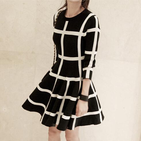 New 2015 Autumn Dress Fashion Women Knited Cotton Dress Long Sleeve font b Plaid b font