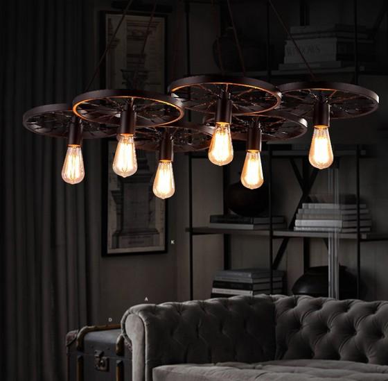 Фотография Loft Style Industrial Windmill Wheel Droplight Edison Vintage Pendant Light Fixtures For Dining Room Bar Antique Hanging Lamp