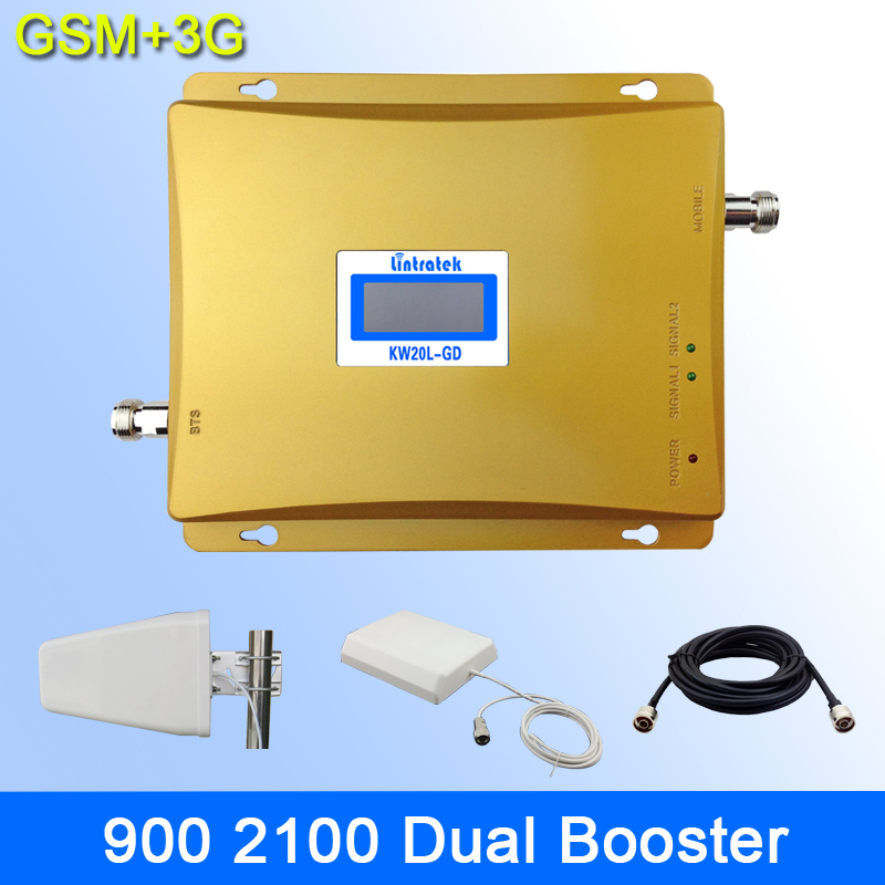 LCD 2G 3G Signal Dual Band Repeater GSM 900 GSM 2100 Cell Phone Signal Booster Amplifier GSM 3G(China (Mainland))