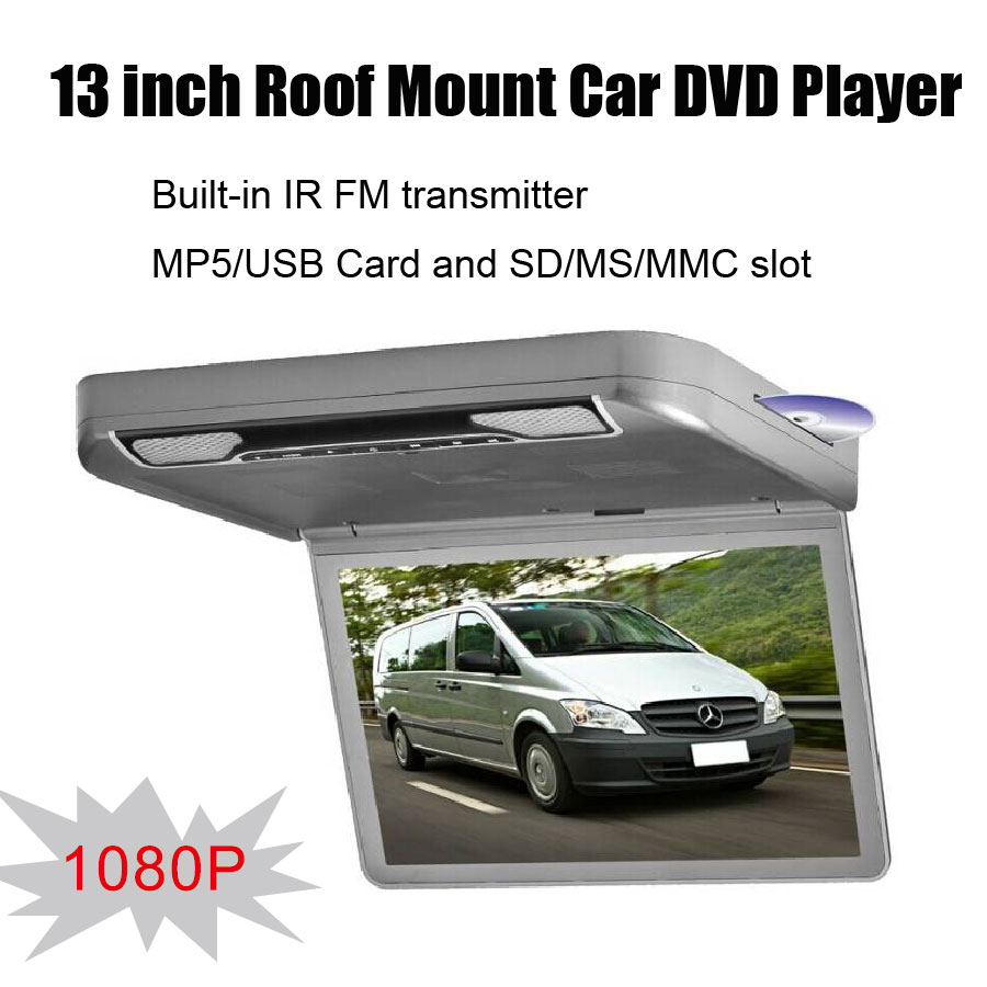 1080P 13 inch Roof Mount Car DVD Player with built-in IR FM transmitter and MP5/USB Card and SD/MS /MMC Slot(China (Mainland))