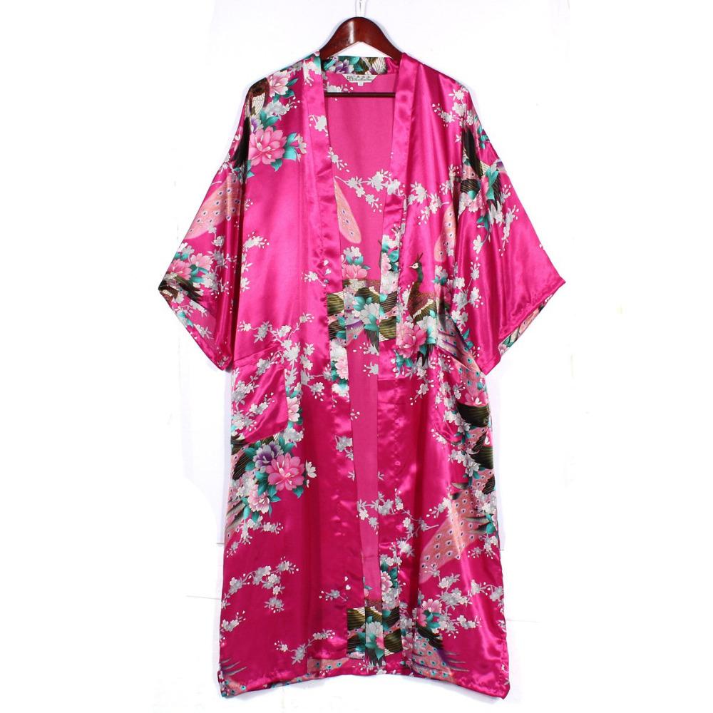 2015 Women Satin Kimono Robe Obi Japanese Yukata Geisha Dress Sexy Lingerie Rayon Nightgown Sleepwear Bathrobe Plus Size S-XXXL(China (Mainland))