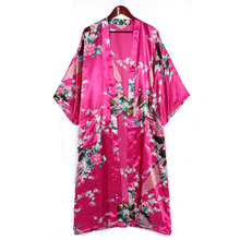 2015 Women Satin Kimono Robe Obi Japanese Yukata Geisha Dress Sexy Lingerie Rayon Nightgown Sleepwear Bathrobe Plus Size S-XXXL(China (Mainland))