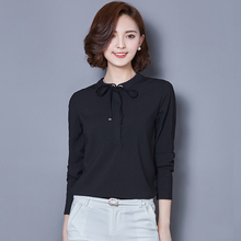 Buy New Autumn Spring Casual Basic Women Lace Chiffon Blouse shirts Solid Tops bowknot blusas Long sleeve bandage OL plus size for $13.97 in AliExpress store