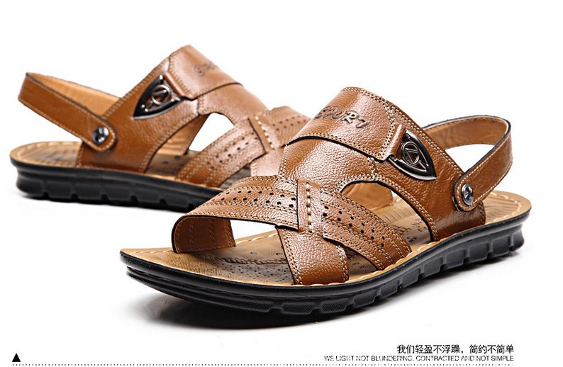 High Quality mens sandals genuine leather sandals summer casual breathable beach shoes, size:38-44<br><br>Aliexpress