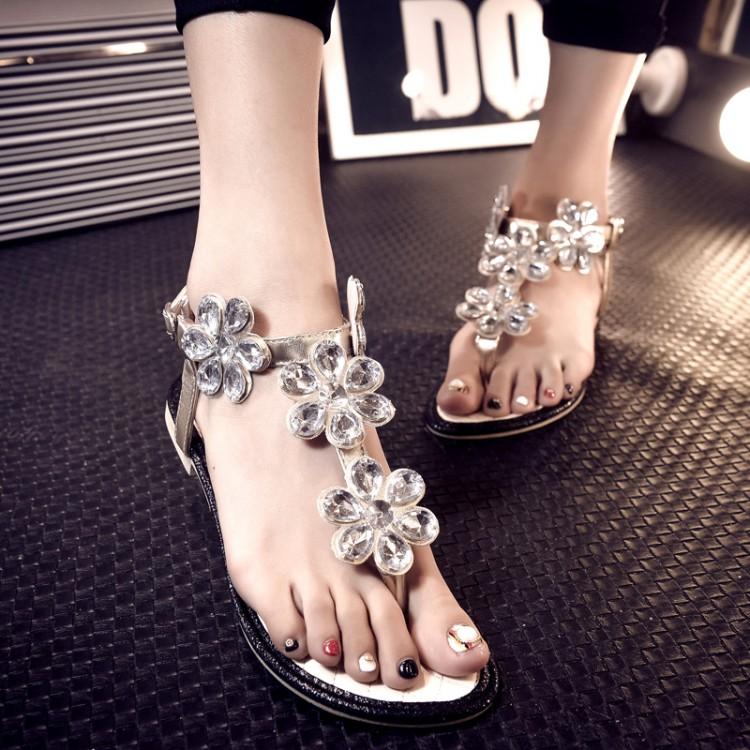 Summer new arrival 2015 fashion rhinestone women's flip-flop shoes bitellos t zone flip-flop sandals(China (Mainland))