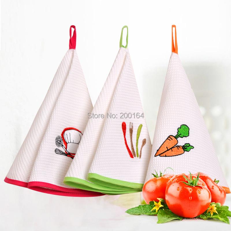 Alto Quanlity Ronda Toalla de 3 Piezas 100% Algodón Toalla de Cocina Toalla de Mano Bordada Barato Paño de Cocina Toallas de Cocina Colgados(China (Mainland))