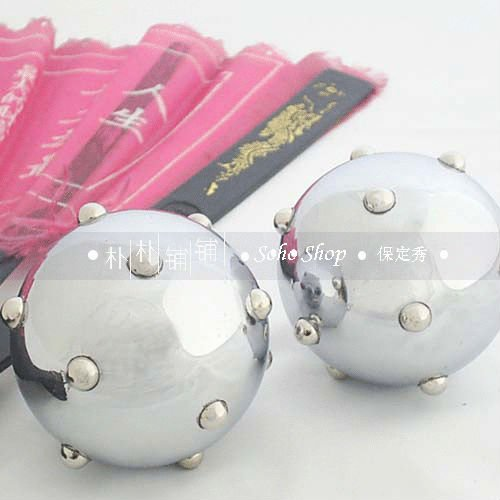 Polished baoding iron balls w/unique acupoint massage beads,Health care product,stress relaxing.50mm, chiming. Red paper box.(China (Mainland))