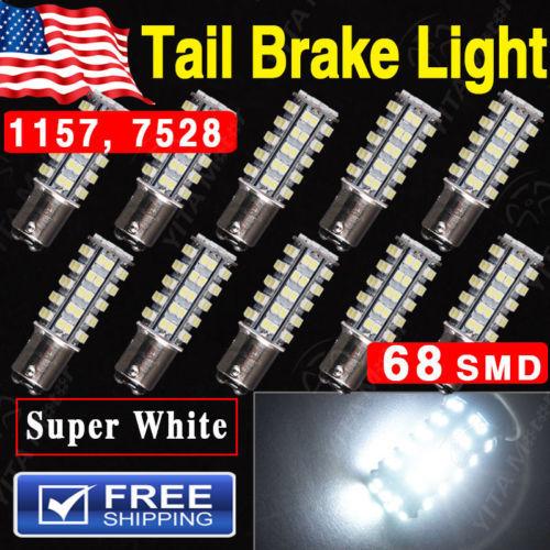 Free Shipping led Car Light 10Pcs Xenon White 1157 BAY15D 68-SMD led Car Tail Brake Stop Led Light Bulb 2057 7528 External Bulbs(China (Mainland))