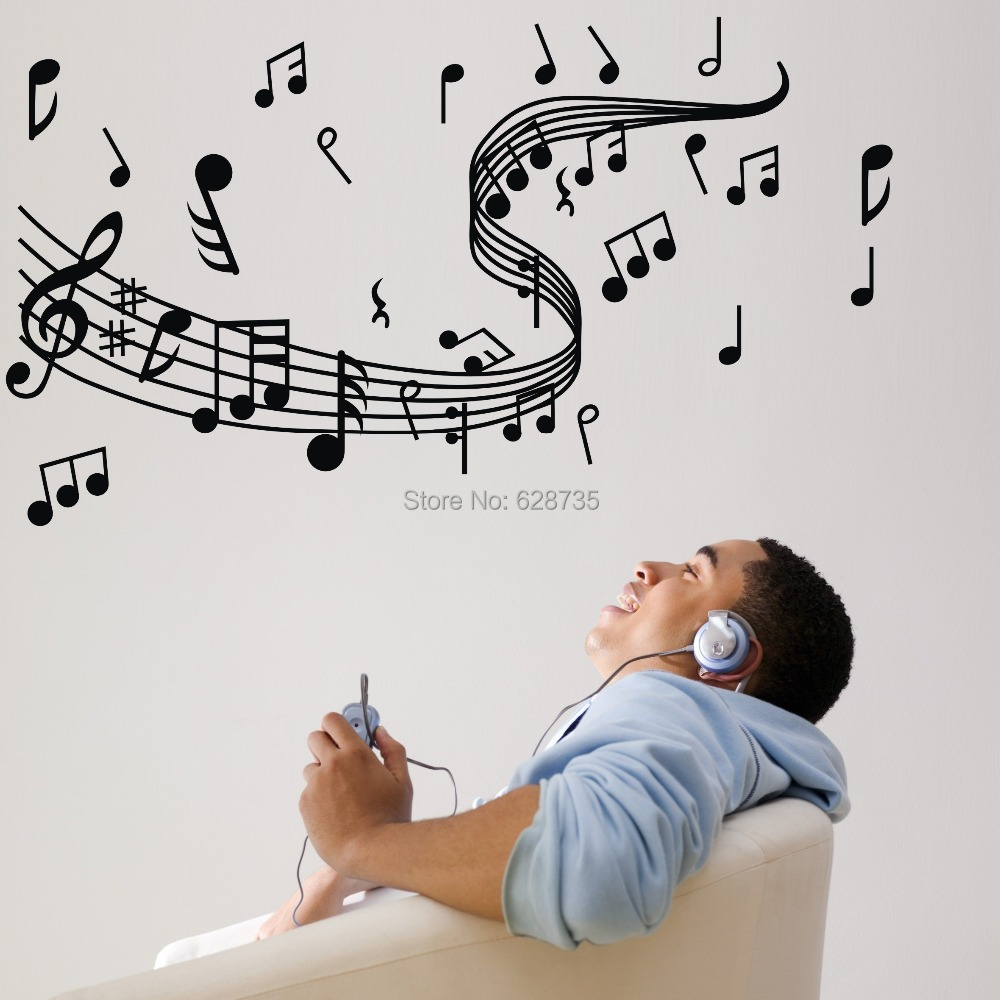 Music note wall stickers , vinyl wall stickers home decor music , musical home decoration ,Free Shipping w10062(China (Mainland))