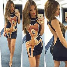2016 NEW Sexy Women Dress Minnie Mouse Print Cute Fashion Sleeveless Summer Dress more styles summer(China (Mainland))