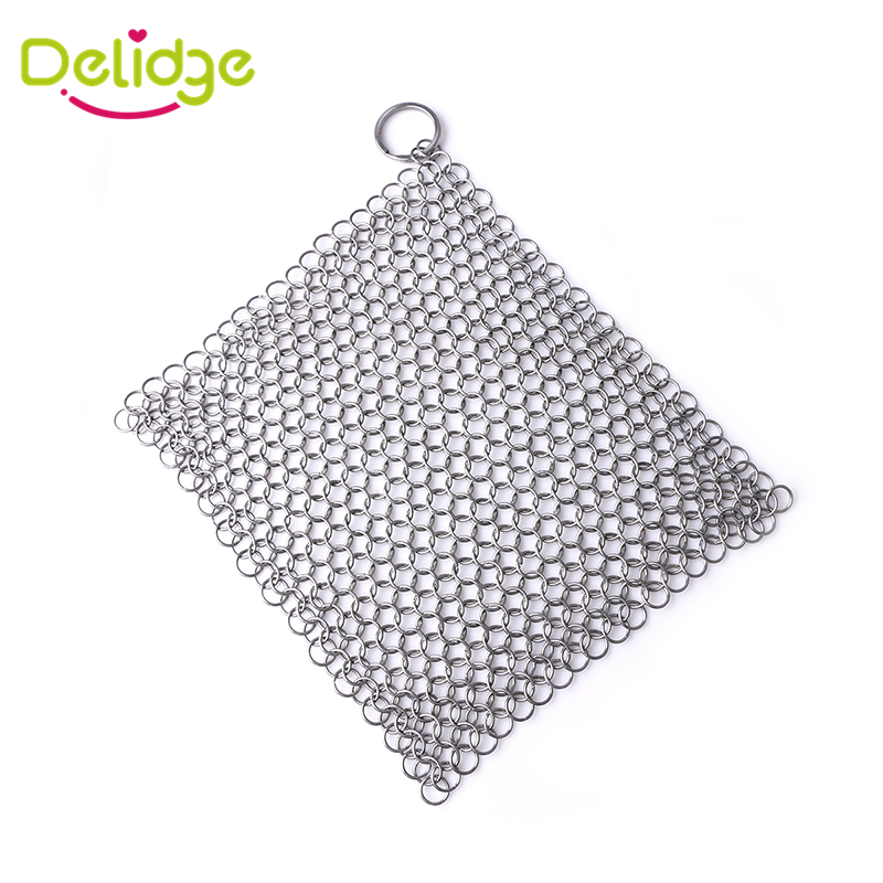 1 pcs Stainless Steel Dish Washer 2 Sizes Pan Wash Tools Cast Iron Chainmail Scrubber Pot Scrubber Cleaner with Ring(China (Mainland))
