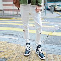 Distressed white  denim joggers pants men hip hop skateboard biker jogging Slim Fit ripped Sweatpants Harem hba swag kanye