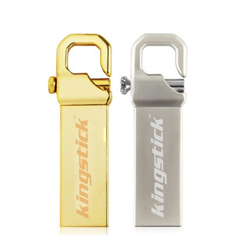 gold & silver USB2.0 high quality Kingstick key chain waterproof usb Flash drive 4GB 8GB 16GB pen drive memory stick 32GB 64GB(China (Mainland))