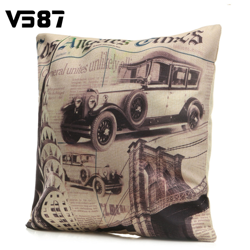 Vintage Los Angeles Times Pillow Cover Cotton Linen Throw Pillow Case Home Hotel Pillowcase Square 43X43cm(China (Mainland))