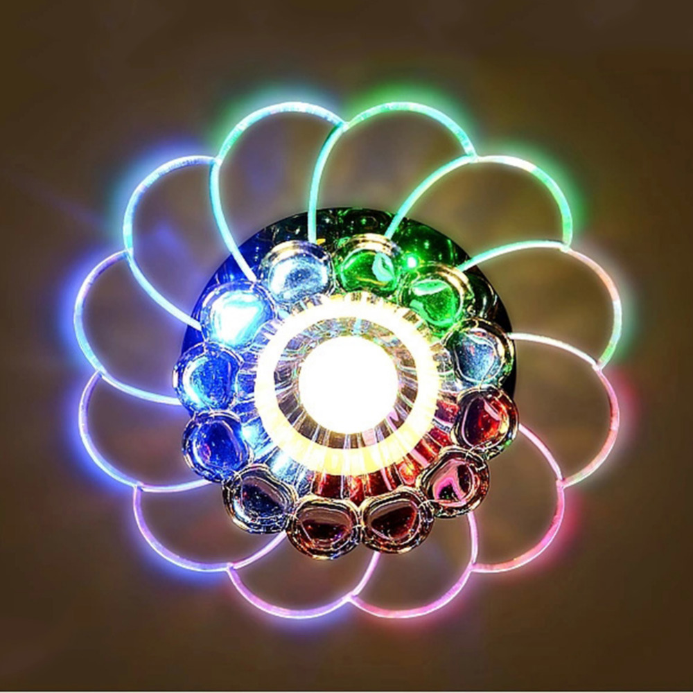 Luxury Crystal LED Ceiling Lights 100-240V 5W Lotus Shape Colorful Balcony Living Room Path Lamp Light(China (Mainland))