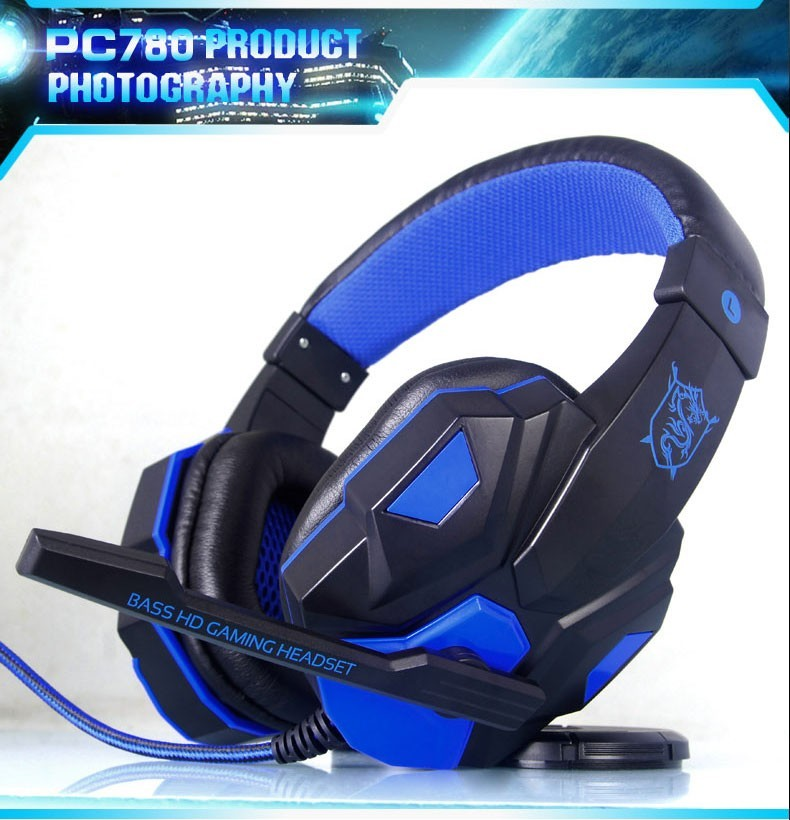 PC780 Bass Stereo Gaming Headset Cool glowing headphones For Computer Laptop PC Gamer Luminous Big Earphone With Mic LED Light