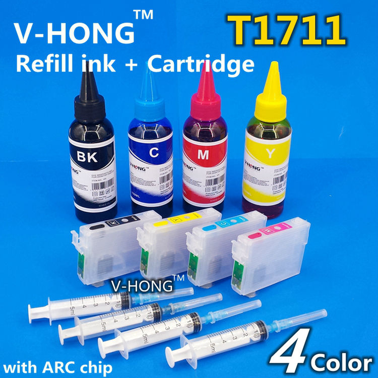 Refill Ink Cartridge T1711 T1712 T1713 T1714 with ARC chip  for XP103 XP203 XP207 XP313 XP413 printer ink tank  RUSSIA <br><br>Aliexpress