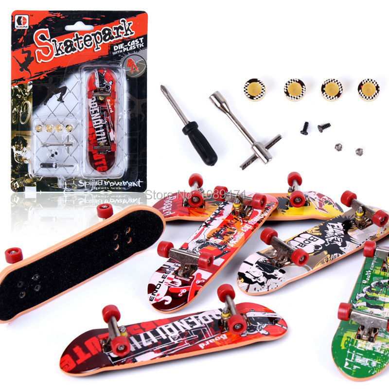 Plastic Real New Fingerboard Alloy Finger Skateboard Toys Mini Sets Professional Tools Graffiti Fashion gadget - shell miss store