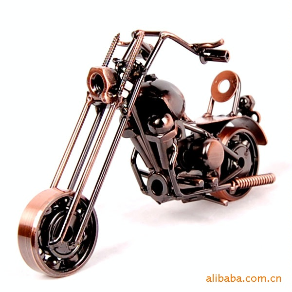 New Creative Gift Motorcycle Model Ornaments For Home Decorative Kids Toys Motorcycle Gift Metal Crafts Vintage Rotating Wheel(China (Mainland))