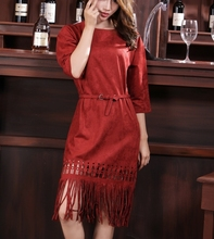 Ladies Fashion Fifth Sleeve Fringe Tassel Dresses High Quality 2015 New Autumn And Winter Faux Suede Dress party With Belt(China (Mainland))